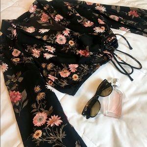 Forever 21 Floral Black Pink Long Sleeve Top Shirt